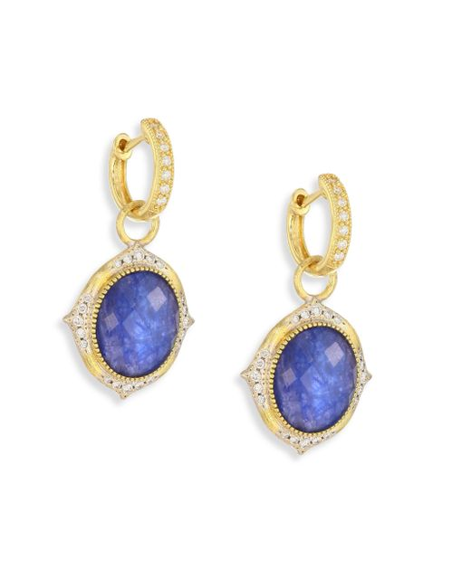 Jude Frances - Multicolor Small Moroccan Diamond & Sapphire Rainbow Moonstone Doublet Earring Charms - Lyst