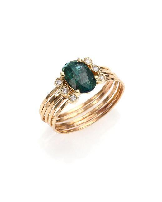 Jacquie Aiche - Metallic Green Tourmaline, Diamond & 14k Yellow Gold Multi-row Waif Ring - Lyst