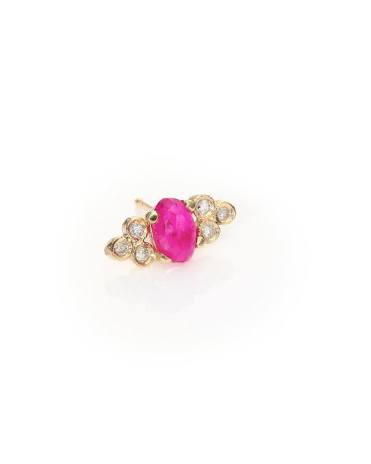 Jacquie Aiche - Multicolor Diamond, Ruby & 14k Yellow Gold Single Stud Earring - Lyst