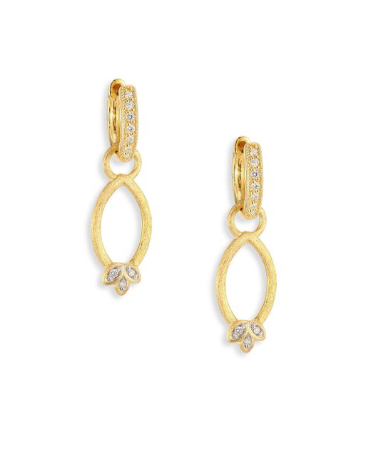 Jude Frances - Metallic Sonoma Simple Marquis Leaf Diamond & 18k Yellow Gold Earring Charms - Lyst