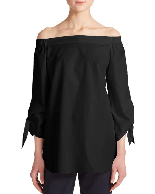 Tibi - Black Satin Poplin Off-the-shoulder Top - Lyst