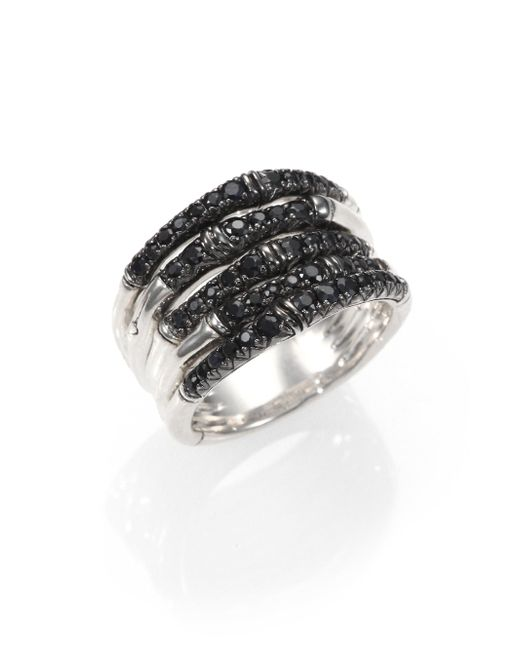 John Hardy - Bamboo Black Sapphire & Sterling Silver Multi-band Ring - Lyst