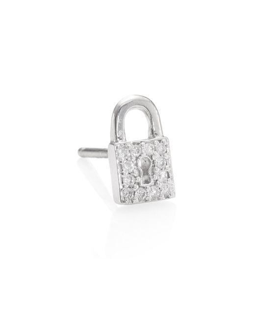 Sydney Evan | Metallic Lock Diamond Stud Earrings | Lyst