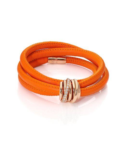 De Grisogono - Allegra Diamond, 18k Rose Gold & Leather Wrap Bracelet/orange - Lyst