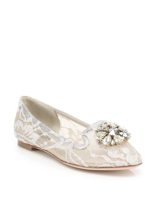 Dolce & Gabbana | White Embellished Lace Loafers | Lyst