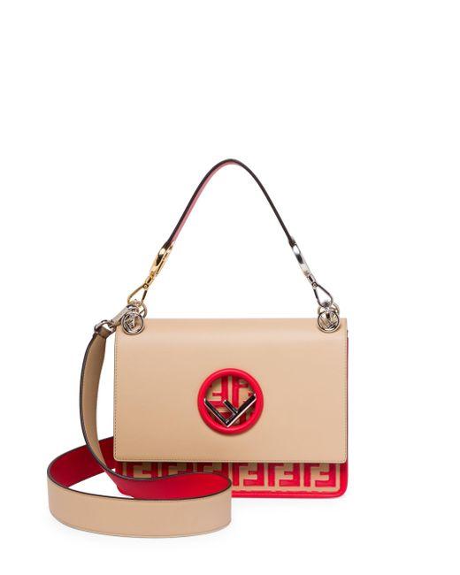 Fendi - Pink Kan I Logo Bottom Shoulder Bag - Lyst