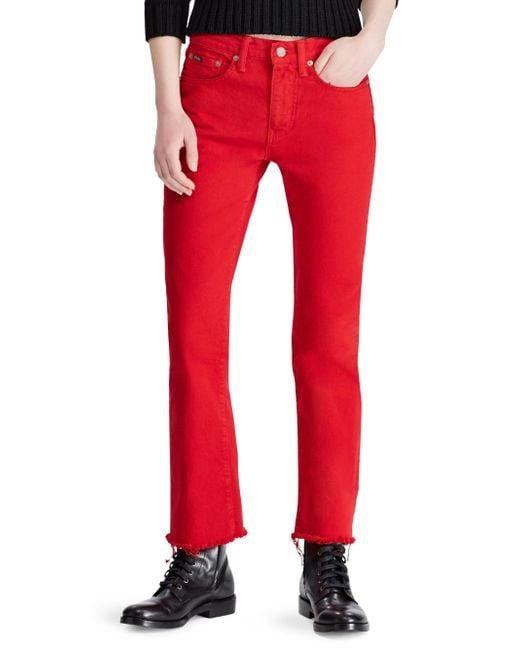 Polo Ralph Lauren - Red Chrystie Kick Flare Crop Jeans - Lyst