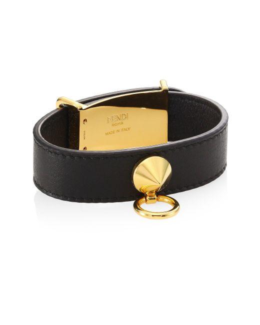 Fendi - Black Leather Bracelet - Lyst