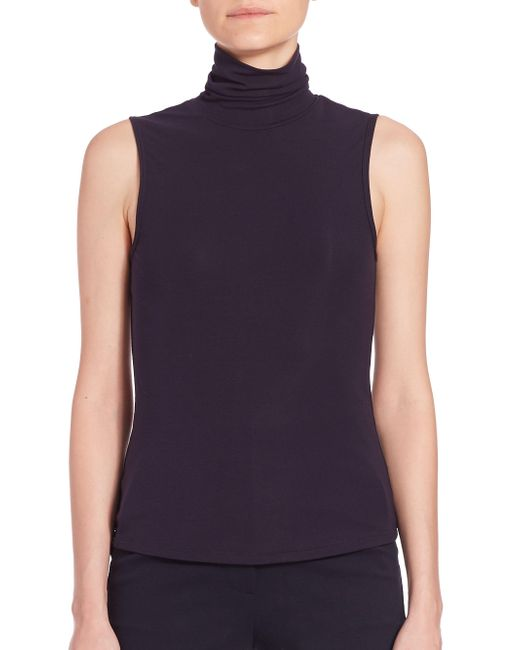 Theory - Blue Wendel Turtleneck Jersey Tank - Lyst