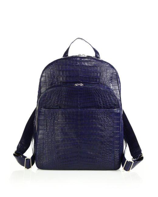 Santiago Gonzalez - Blue Crocodile Backpack for Men - Lyst