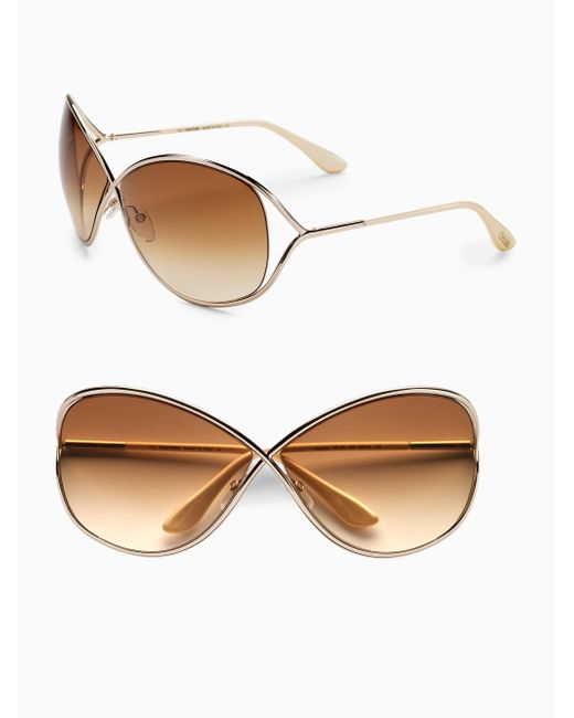 7a5f6cdb257 Tom ford Miranda Oversized Round Sunglasses in Metallic .