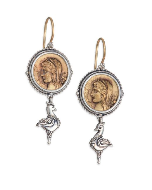 Konstantino - Metallic Kerma Bronze & Sterling Silver Coin Drop Earrings - Lyst