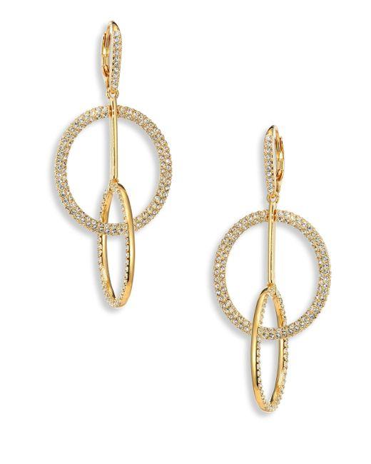 Adriana Orsini | Metallic Linked Crystal Pave Circle Earrings | Lyst