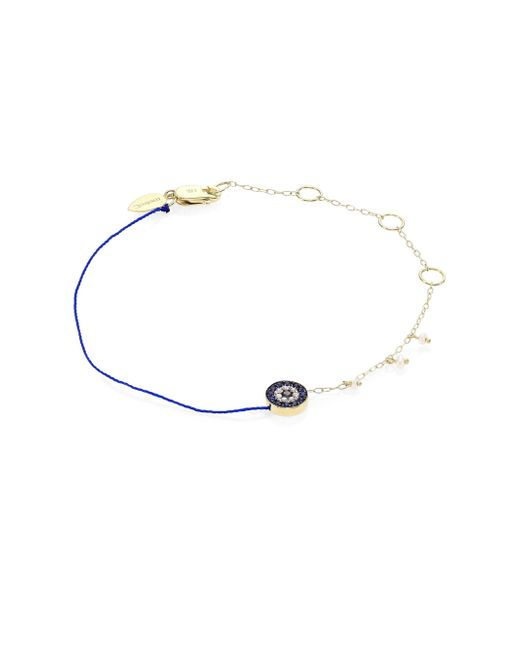 Meira T | Metallic Evil Eye Diamond, Blue Sapphire & Yellow Gold Bracelet | Lyst