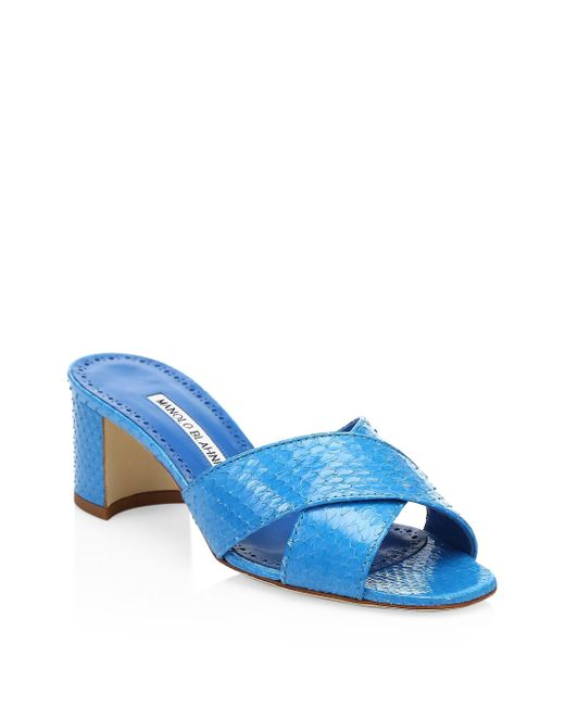 Manolo Blahnik - Blue Otawi Snake Sandals - Lyst