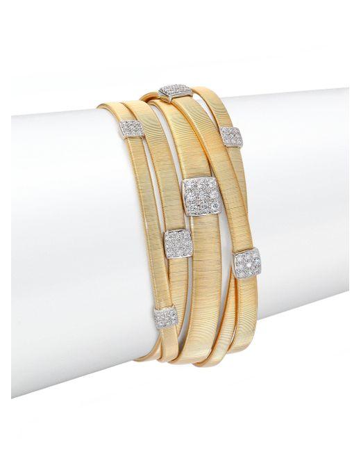 Marco Bicego - Metallic Masai Diamond, 18k Yellow Gold & 18k White Gold Multi-row Bracelet - Lyst