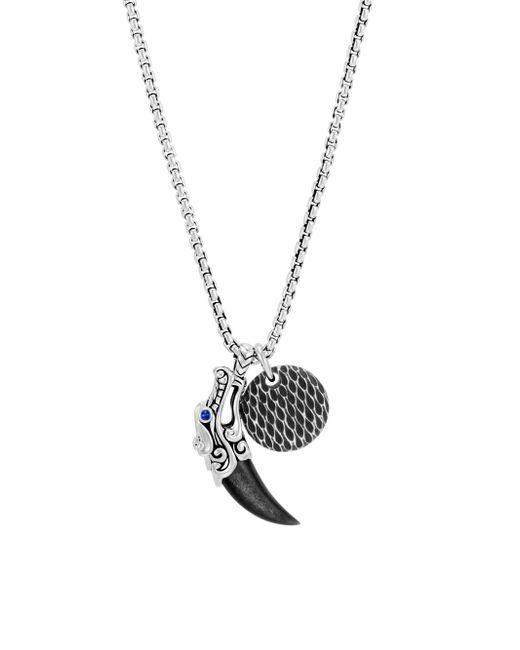 John Hardy - Gray Sterling Silver Leather Legends Pendant Necklace - Lyst