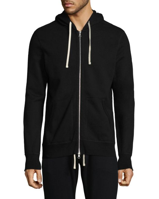 Reigning Champ - Black Hooded Zip-front Jacket for Men - Lyst