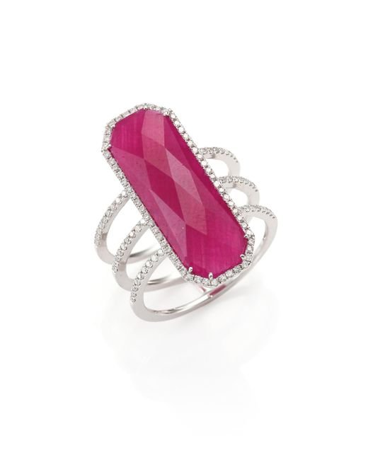 Meira T - Pink Ruby, Pave Diamond, 14k White Gold & Silver Ring - Lyst