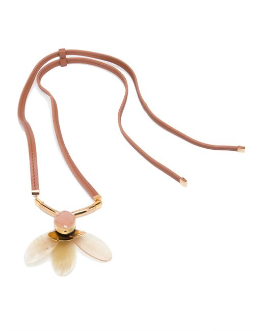 Marni | Metallic Petal Horn & Leather Pendant Necklace | Lyst