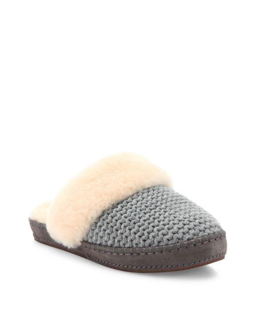 Ugg | Gray Aira Knit Slippers | Lyst