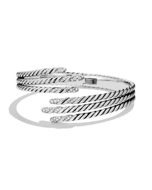 David Yurman | Metallic Willow Open Three-row Bracelet With Diamonds | Lyst