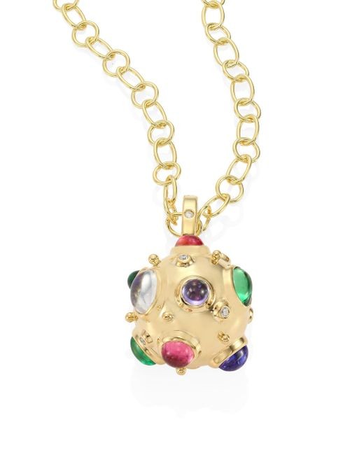 Temple St. Clair | Metallic Cosmos Diamond, Semi-precious Multi-stone & 18k Yellow Gold Pendant | Lyst