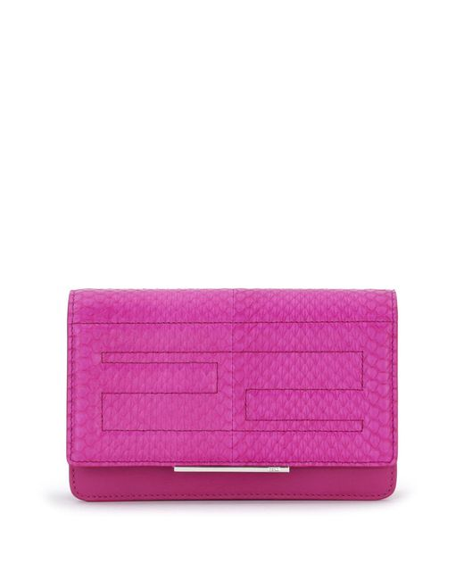 Fendi - Purple Tube Elaphe & Leather Chain Wallet - Lyst