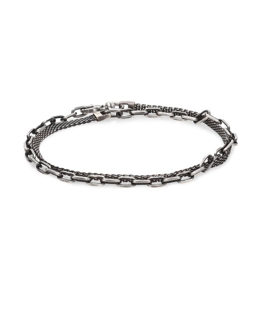 Title Of Work - Metallic Gridlocks Sterling Silver Micromesh And Anchor Chain Bracelet for Men - Lyst