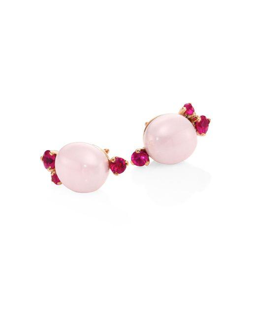 Pomellato | Red Rubies, Ceramic & 18k Rose Gold Stud Earrings | Lyst
