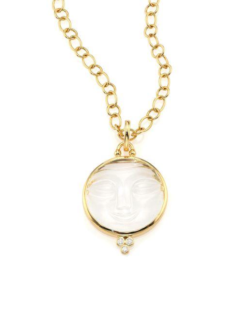 Temple St. Clair - Metallic Women's Celestial Crystal, Diamond & 18k Yellow Gold Moonface Pendant - Gold - Lyst