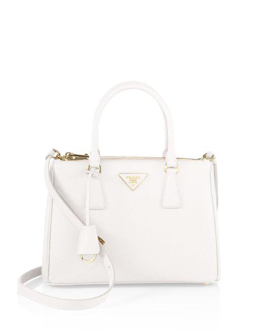 Prada   White Saffiano Lux Small Double-zip Tote   Lyst