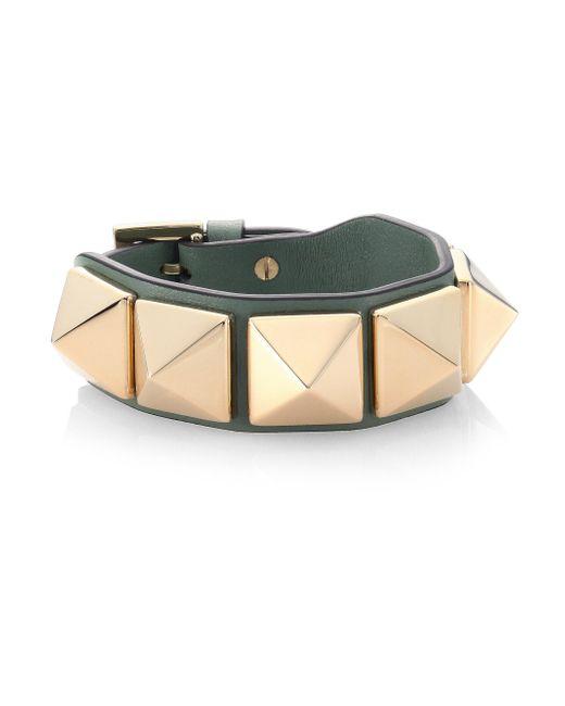 Valentino - Multicolor Studded Leather Bracelet - Lyst