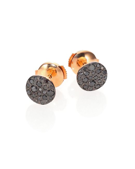 Pomellato - Gray Sabbia Black Diamond & 18k Rose Gold Stud Earrings - Lyst