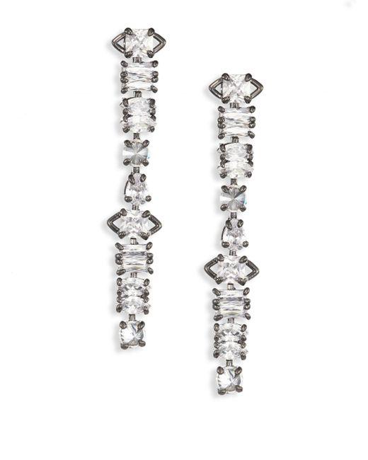 Fallon - Metallic Jagged Edge Linear Drop Earrings - Lyst