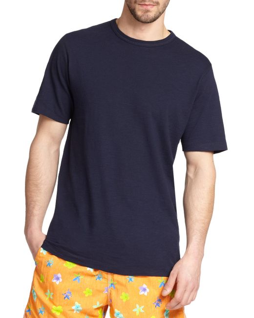 Saks Fifth Avenue | Blue Pima Cotton Crewneck Tee for Men | Lyst