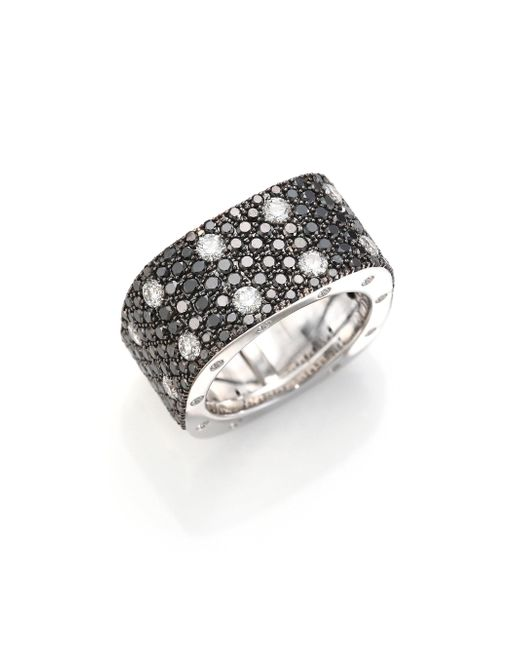 Roberto Coin - Multicolor Pois Moi Black/white Diamond & 18k White Gold Ring - Lyst