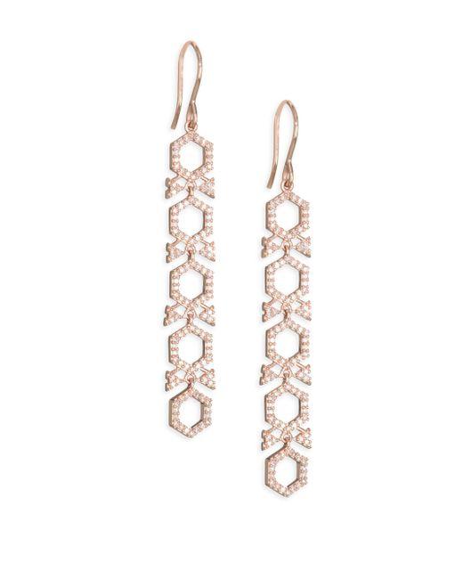 Astley Clarke - Metallic 14k Rose Gold & Diamond Honeycomb Drop Earrings - Lyst
