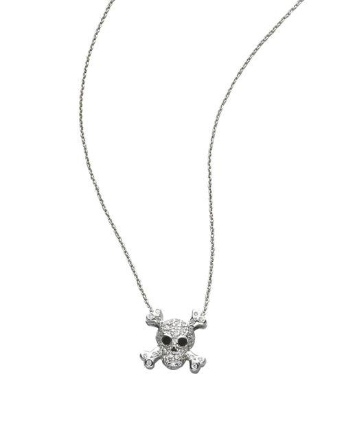 Roberto Coin - Tiny Treasures Diamond & 18k White Gold Skull Pendant Necklace - Lyst