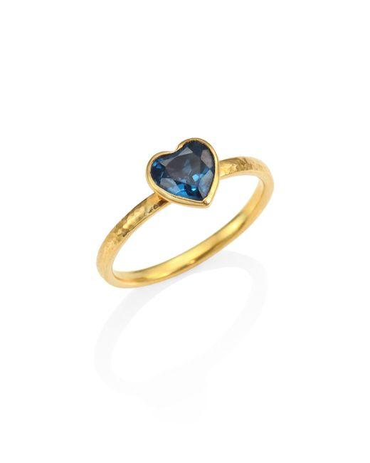 Gurhan - Metallic Amulet Hue Blue Topaz & 22-24k Yellow Gold Heart Ring - Lyst