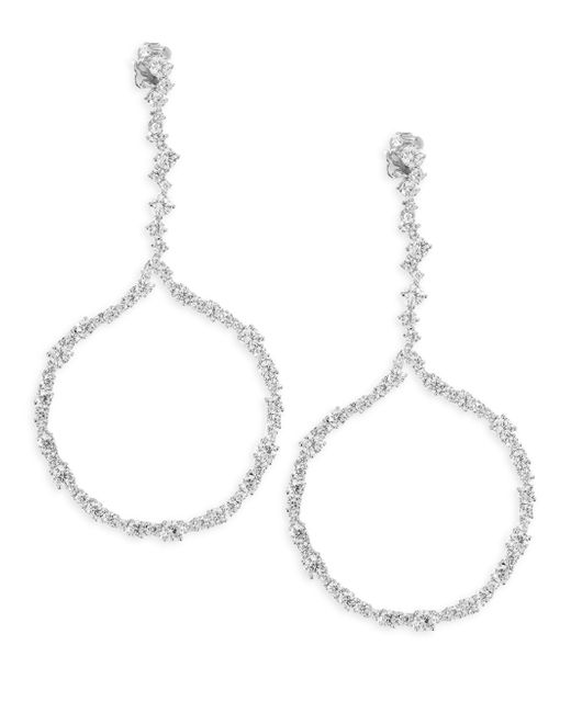 Adriana Orsini - Metallic Crystal Fronal Hoop Earrings - Lyst