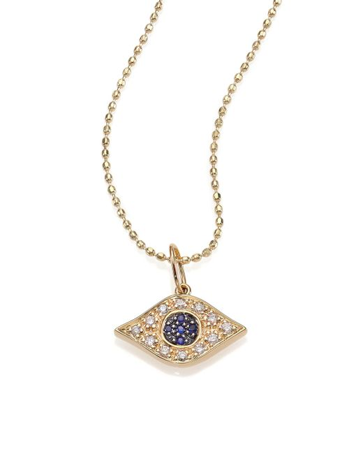 Sydney Evan - Metallic Diamond, Sapphire & 14k Yellow Gold Evil Eye Necklace - Lyst