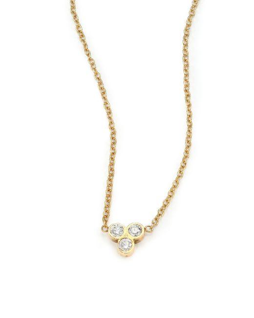 Zoe Chicco - Metallic Diamond & 14k Yellow Gold Three-bezel Necklace - Lyst