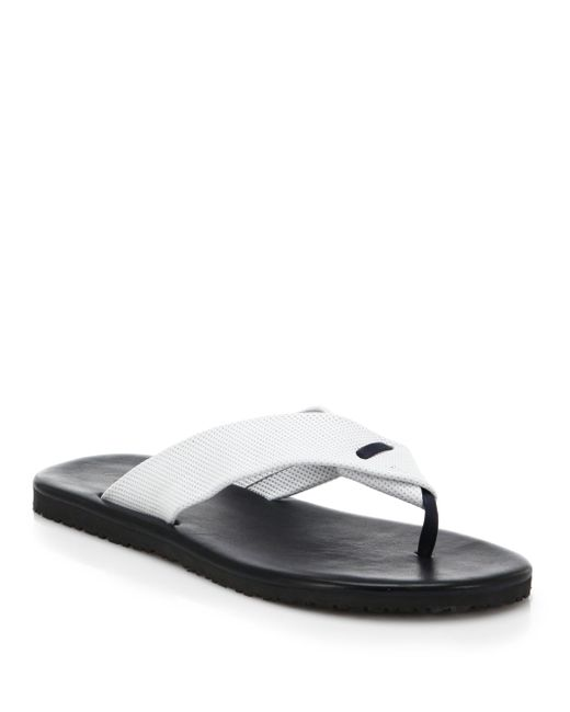 Saks Fifth Avenue - White Perforated Leather Flip Flops for Men - Lyst