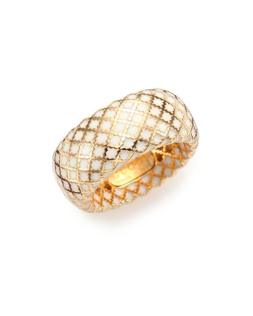 Gucci - Metallic Diamantissima Enamel & 18k Yellow Gold Band Ring - Lyst