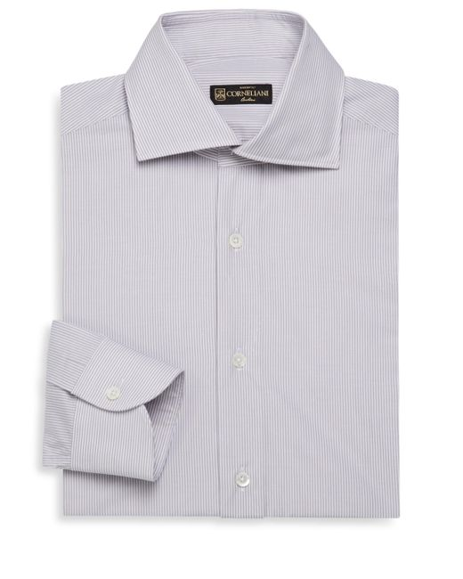 Corneliani - White Striped Cotton Shirt for Men - Lyst