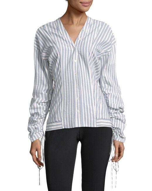 Jason Wu - Blue Striped Cotton Shirt - Lyst