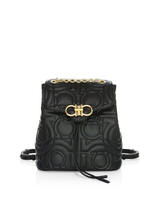 Ferragamo - Black Quilted Backpack - Lyst