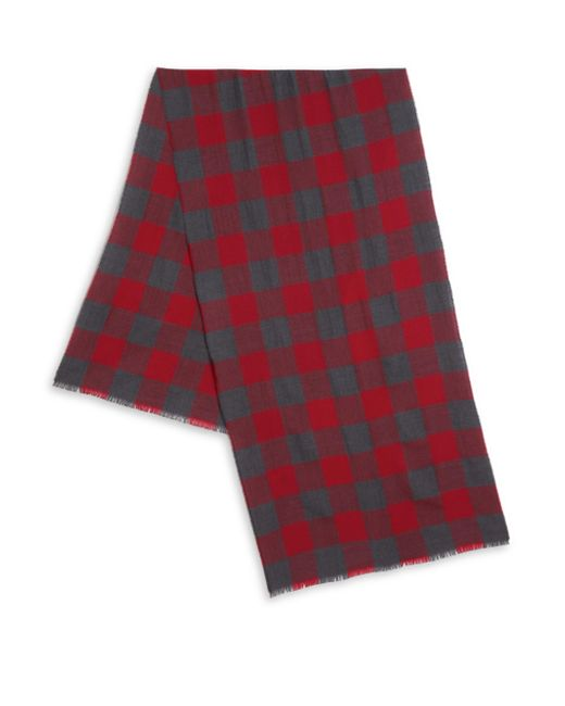 Saks Fifth Avenue - Red Check Print Merino Wool Scarf for Men - Lyst