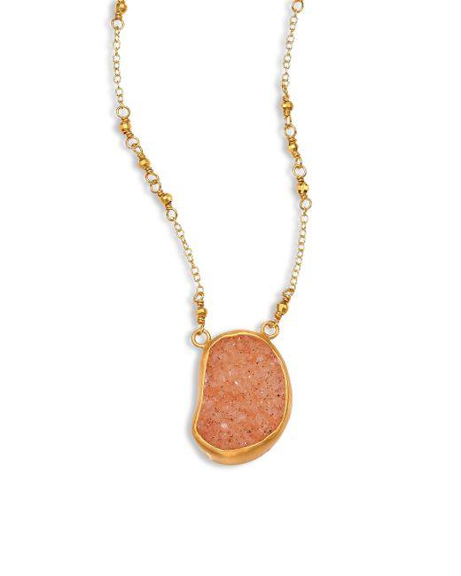 Chan Luu | Orange Tan Agate Pendant Necklace | Lyst